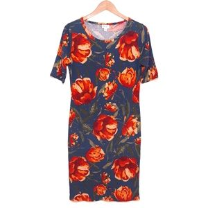 Lularoe Blue Orange Red Floral Short Sleeve Dress